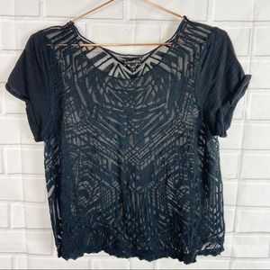 Express sheer crop lace embroidered detail top M